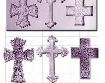 CROSSES CROSS x 3 CRUCIFIX Craft Sugarcraft Sculpey Silicone Rubber Mould