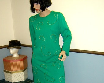 1980s Plus Size Vintage Electric Green Dress Size 14P