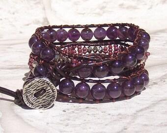 Leather Wrap Bracelet, Amethyst Bracelet, Leather Jewelry, Leather Wrap Bracelet for Women,  Gemstone Bracelet Bohemian Jewelry Gift for her
