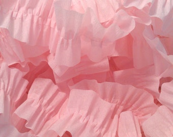Baby Pink Ruffled Crepe Paper Streamers - 36 Feet - Party Decor Garland Decoration Supplies