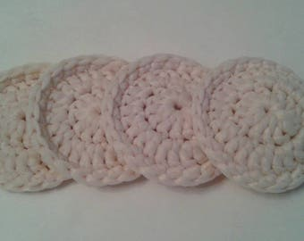 Nylon Tulle Netting Dish Scrubbies-Sets of 2-8-Cream-Handmade Pot Scrubbers