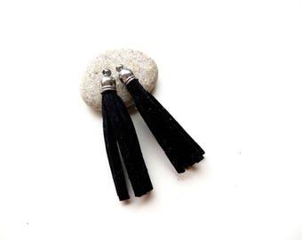 2 silver 45mm Black Suede tassels