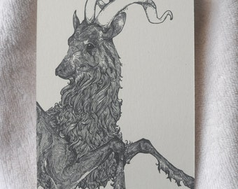 Goat Drawing, Goat Illustration, Goat Art, Goat Ink, Goat Drawing, Pen Drawing, Black Goat Drawing, Detailed Goat Art, Horned Goat, A6 Print