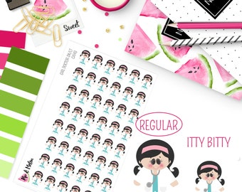 Female Girl Doctor Dark Hair/Light Skin Stickers | 48 Kiss-Cut Stickers | OB-GYN, Female Doctor, Medical | CA143 |