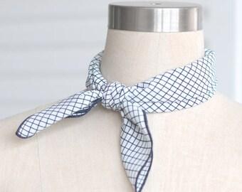 navy stripe square neck scarf,chiffon scarf,mini neck scarf,multi-function scarf,women scarf,stripe scarf,square scarf