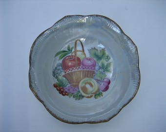 Vintage Iridescent Glazed Ceramic Decorative Bowl Feat. Fruit Basket Theme