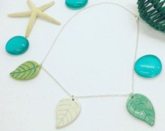 Leaves necklace, ceramic necklace, leaf pendant, ceramic leaf, ceramic pendant, green leaf necklace
