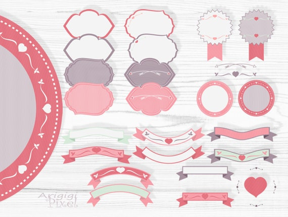 clipart set - pink retro frames and text dividers for Valentine ...