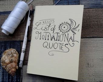 Personalised Journal, List of Motivational Quotes, Quote Keepsake, Pocket-sized notebook, Handmade Gift for Her