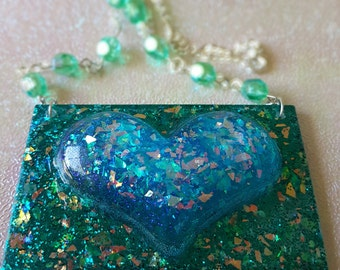 Giant blue heart on a plate beaded necklace