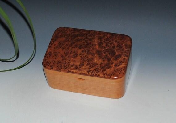 Handmade Wooden Box With a Tray - Redwood Burl on Cherry - Gift Box, Desk Box, Small Stash Box, Wood Jewelry Box by BurlWoodBox