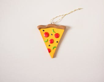 Pizza Ornament - Pepperoni Pizza Slice Christmas ornament, handmade, clay ornament, polymer clay