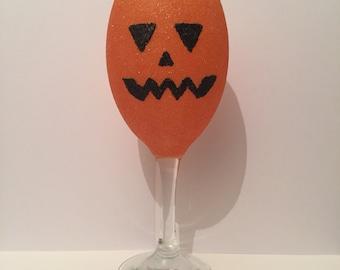 Pumpkin Glitter Wine Glass