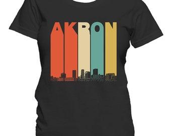 Vintage 1970's Style Akron Ohio Skyline Women's T-Shirt