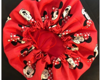 Red Minnie Mouse satin lined bonnet