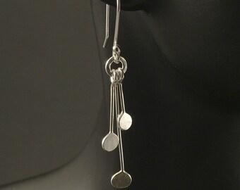 Silver Dangle Earrings / Argentium Sterling Silver Dangles / Upcycled Silver Earrings / Hammered Silver Earrings