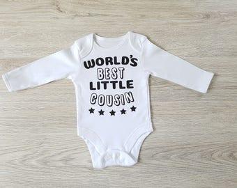 Baby cousin bodysuit, worlds best little cousin, cousin gift, baby bodysuit cousin, baby cousin gift, new cousin gift, cousin bodysuit