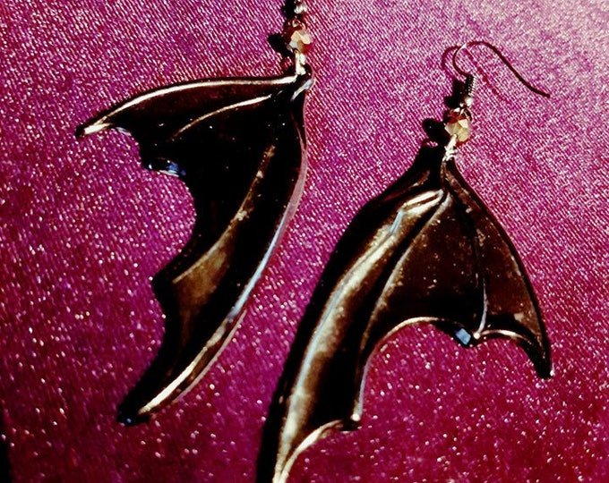 BatWings Earrings - vampire goth gothic black resin occult