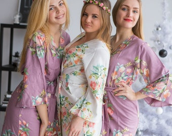 Premium Dusty Mauve Bridesmaids Robes - Dreamy Angel Song Pattern - Soft Rayon Fabric - Better Design - Perfect as getting ready robes