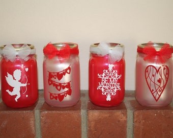 Valentine's Day Lanterns, Cupid, Heart garland, be mine,  16oz, pint size mason jars, tea light included