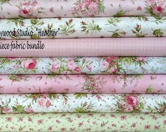 Shabby Chic Floral Fabric Bundle, Pink Roses, Maywood Studio Heather, Fat Quarter, Half Yard, One Yard Bundle of 7, Cotton Fabric Bundle
