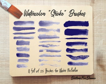25 Watercolor Stroke Brushes for Adobe Illustrator, Vector Brushes, hand-drawn, Watercolor Paper PNG & Install instructions Included
