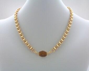 Tigers Eye Necklace, Gemstone Necklace, Gold Necklace, Chain Necklace, Fashion Jewelry, Modern Necklace, Minimalist
