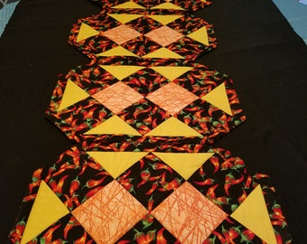 Quilted Set of 4 Chili Pepper Placemats