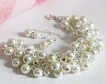 Ivory Cluster Bracelet Ivory Chunky Bracelet Bridesmaids Gift Ivory Pearl Bracelet Bridesmaids Cluster Bracelet Ivory Bracelet Earrings