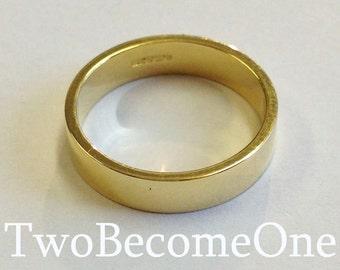 4mm Mens 18ct Yellow Gold Flat Shape Handmade Wedding Ring / Band / 5.2g