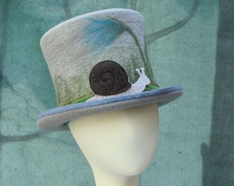 Snail Top Hat - Size 22 1/2 Inches - Gray Top Hat - Snail Hat - Top Hat - Hand Felted Merino Wool - Wool Top Hat - Gray - Grey