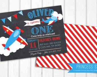Airplane Invitation, Pilot Birthday Party Invitation Digital File 5x7 or 4x6,  Airplane Birthday Invitation, Vintage Airplane Invitation