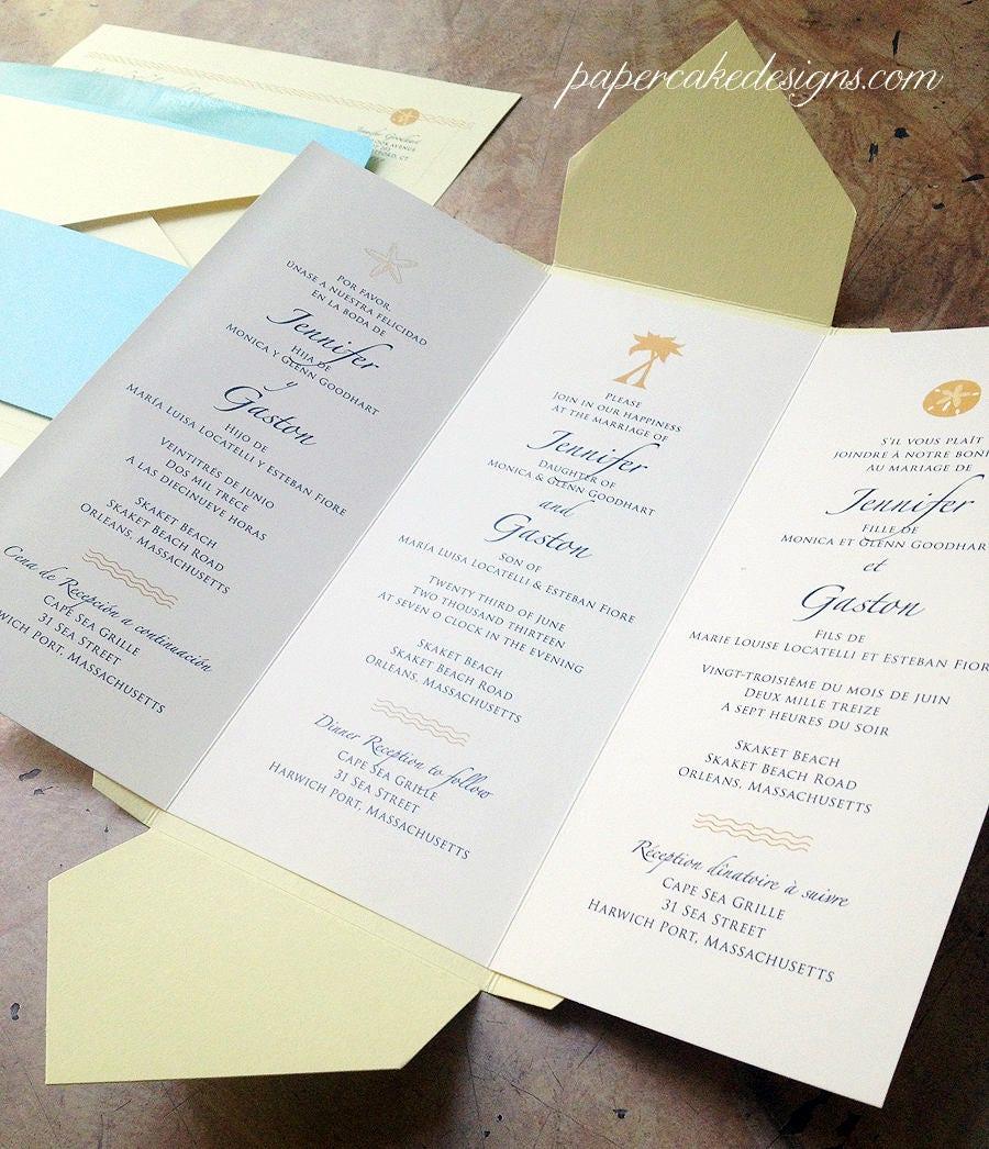 Tri Fold Wedding Invitation / Pochette Enclosure Trilingual