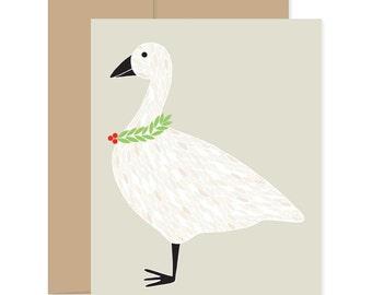 Christmas Goose Card, Festive Goose Greetings, Xmas Holiday Celebration Card