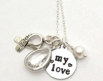 Husband boyfriend my love lung cancer awareness necklace,My love necklace,Hope for husband's cancer necklace,Lung cancer awareness,Awareness