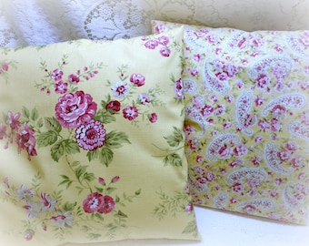 Shabby Chic Vintage Covington 5th Avenue Lisbet and Lucinda English Cottage Pillow Slipcover in Yellow