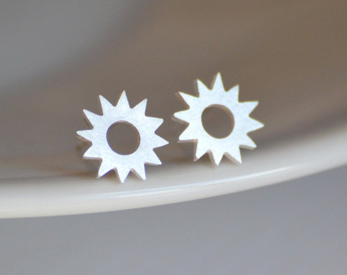 Sunshine Earring Studs In Sterling Silver, Weather Forecast Earring Studs Handmade In England