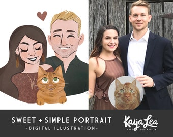 Custom Portrait Illustration | Anniversary Portrait Art | Cute Caricature | Custom Couple Portrait | Couple and Pet Portrait Illustration