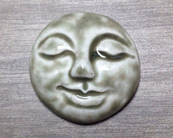 Large Smooth Face Ceramic Cabochon Stone in Pale Flesh