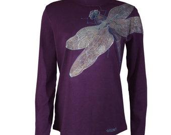 hand painted, wearable art,fantasy,dragonfly size medium l/s knit mockneck turtleneck