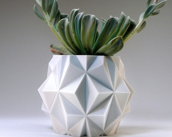 3d Polygon Gift Office Planter Tech Gift Futuristic Decor Space Planter Modern Flower Pot Indoor Geometric Modern Plant Pot