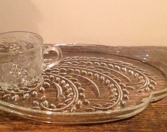 Vintage Glass Dessert Place & Cup **SALE**