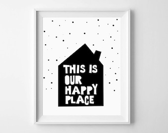 Nursery Prints, Nursery Wall Prints, Nursery Wall Art, Happy Place, Scandinavian,  Nursery Decor, Nursery Printable, Nursery illustration