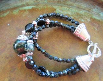 Black Picasso bracelet, boho chic bracelet, Picasso bracelet, black bracelet, unique gift, autumn jewelry, gift, for women, gift for her
