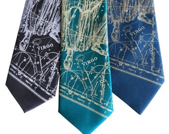Virgo Birthday Tie, Zodiac Constellation Star Chart Print men's necktie. Horoscope Astrology gift, August Birthday September birthday gift