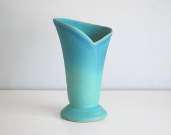 Van Briggle Vase, Turquoise Wrap Vase, American Art Pottery, Arts and Craft, Ming Blue Vase, Cottage Chic Decor, Mid Century Ceramic Vase
