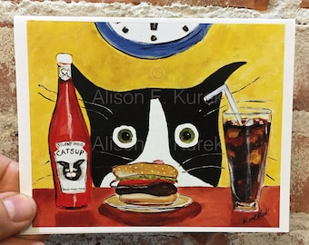 Funny Cat Card - Tuxedo Cat with Hamburger - Blank Note Card - Cat greeting Card - Cat Stationary - Gift for Cat Lovers