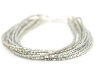 Silver Beaded Bracelet | Seed Bead Bracelet | Ombre Bead Bracelet | Gray and Silver Beaded Bracelet