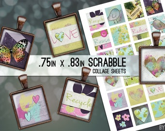 Love the Earth Go Green Recycle Digital Collage Sheet Scrabble Tile .75x.83 Images 4x6 8.5x11 Download Sheets for Glass Resin Pendants