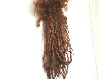 Copper Kettle - extra long Teeswater locks 14 inches.  Dolls hair, gnomes beard, waldorf doll hair, spinning and felting craft supply